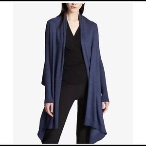 DKNY Hi Low Heather Blue Cardigan